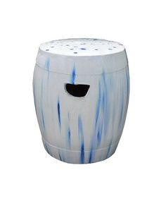 Chinese White Blue Round Clay Ceramic Garden Stool cs1633S