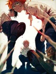ThePromisedNeverland約束のネバーランド (Yakusoku noNeverland) #Manga #Anime Ray, Norman, Emma (Yasasoku Neverland) I Love Anime, Versão Anime, Anime Comics, All Anime, Naruto, Fanart, Seraph Of The End, Neverland, Anime Characters
