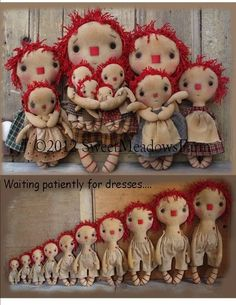 Ten Little Raggedy Primitive Dolls Pattern by Sweet Meadows Farm Pattern for this doll is BIG…in 10 different sizes. Primitive Doll Patterns, Primitive Crafts, Fabric Dolls, Paper Dolls, Doll Toys, Baby Dolls, Ann Doll, Sewing Dolls, Soft Dolls