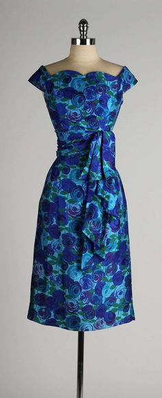 Vintage 1950's Gigi Young Silk Floral Dress