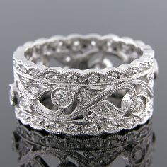 WB613-101 Antique reproduction diamond platinum filigree wedding eternity right hand ring