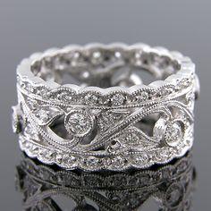 WB613-101 Antique reproduction diamond platinum filigree wedding eternity right hand ring