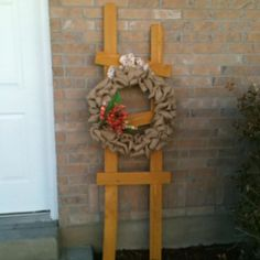 DIY wood ladder and burlap wreath
