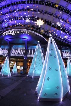Christmas illumination in Hakata station, Fukuoka, Japan. Try to do something similar with PVC pipes, lights, and paper. Christmas In The City, Noel Christmas, Christmas And New Year, Christmas Flyer, Christmas Lights, Christmas Decorations, Fukuoka Japan, Christmas Light Displays, In China