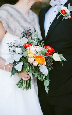Bright rose bridal bouquet | photos by Whitney Neal | 100 Layer Cake