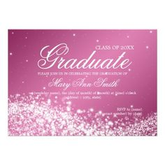 Elegant Graduation Party Sparkling Wave Pink Invite   $1.70