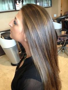 Chocolate golden brown hair with naturally hand painted highlights ...