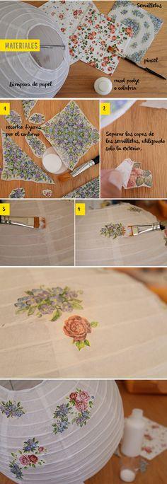 decoupage lámpara de papel