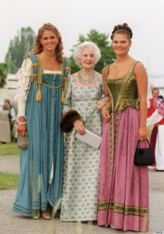 2001 during the 25th wedding anniversary celebrations for King and Queen of Sweden — L-R: Princess Madeleine, Princess Lilian, Crown Princess Victoria.
