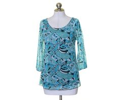 INC International Concepts Teal Green White Paisley Lined Blouse Size M #INCInternationalConcepts #Blouse #Casual