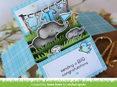 Lawn Fawn - Scalloped Box Card Pop-up, Elphie Selfie, Little Bundle _ card by Nichol for Lawn Fawn Design Team