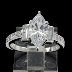 3.00ct Marquise Cut VVS Diamond 14k White Gold Engagement Ring #Prelovedjewelry #SolitaireEngagement #(F-50-117462-42)