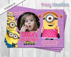 diy minion birthday party | ... , Minions card for Despicable Me birthday party - DIY Printable (4x6