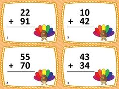 2-DIGIT ADDITION THANKSGIVING TASK CARDS (28 CARDS) - TeachersPayTeachers.com