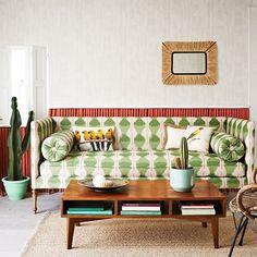 Green and Orange Ikat Striped sofa Living room Homes and Gardens via House to Home