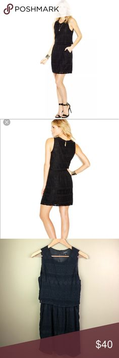 """Lucky Brand Black Lace Overlay Layered Dress Small layered bodice dress with keyhole button at back missing fabric content and care tag approx measurements with garment laid flat armpit to armpit 17.5"""" waist 13"""" length 35"""" Lucky Brand Dresses Mini"""