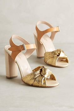 Neutral and gold, chunky heel dress shoes Lenora Scarpe di Lusso Eva Heels - anthropologie.com #bestfootforward