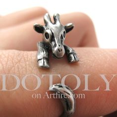 Miniature Baby Giraffe Ring in Silver Sizes 4 to 9 available from Dotoly · Storenvy