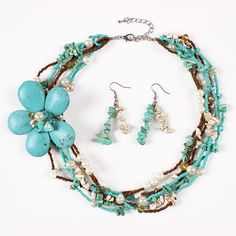 Fashion Turquoise and Imitation Pearls Big Flower Design Jewelry Set Exaggeration Women Ladies Earrings Necklace