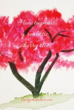 How to paint realistic cherry tree with watercolors Watercolour Tutorials, Painting Tutorials, Cherry Tree, Fairy, Watercolor, Pictures, Cherry Fruit Tree, Photos, Watercolour