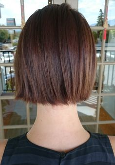 Blunt short bob with chocolate brown color for fine hair