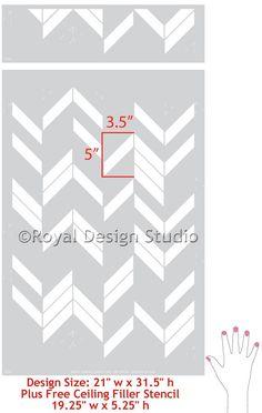 I need this right? Herringbone Shuffle Modern Geometric Wall Stencil | Royal Design Studio