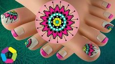 In this video tutorial you will find an easy to perform toe nails art with a mandala design for the first and third finger and a decorated French for the res. Us Nails, Love Nails, Hair And Nails, Pedicure Nail Art, Toe Nail Art, Anchor Nail Art, Mandala Nails, Cute Pedicures, Bright Nails