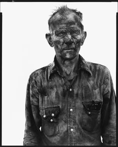 Richard Avedon - Homer Emmons, coal miner, Somerset, Colorado, August 1980 - In the American West Richard Avedon Portraits, Richard Avedon Photography, City Photography, Photography Projects, Portrait Photography, Fashion Photography, Robert Frank, Black And White Portraits, Black And White Photography