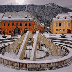 Fountain in snow, Brasov, Romania