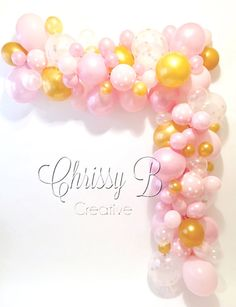 DIY Balloon Garland Kit in Pink and Gold - Makes a Full 10 Foot Garland - Baby Shower or Party Decor - Photo Shoot Backdrop