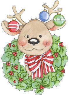 CHRISTMAS REINDEER AND WREATH CLIP ART