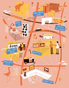 Illustrated map of New Delhi