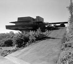 Photo by Pedro E. Guerrero, 1947,  Sturges House, Exterior, Los Angeles,  Frank Lloyd Wright.
