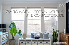 How To Install Interior Crown Molding: The Complete Guide To Inside Corner Cutting On Flat and Crown Molding Angles - The Design Confidential Small Basement Remodel, Basement Remodeling, Basement Plans, Basement Storage, Basement Bathroom, Moldings And Trim, Crown Molding, Living Room Remodel, Living Room Decor