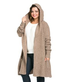 Love this 42POPS Mocha Hooded Open Cardigan - Plus by 42POPS on #zulily! #zulilyfinds