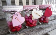 {sweets for the sweet} layered candy mason jars - sweet valentine idea Valentines Day Treats, Valentine Day Crafts, Holiday Crafts, Valentine Ideas, Holiday Ideas, Funny Valentine, Halloween Crafts, Holiday Fun, Holiday Decor