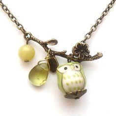 Antiqued Brass Leaf  Jade Quartz  Porcelain Owl by gemandmetal, $12.99