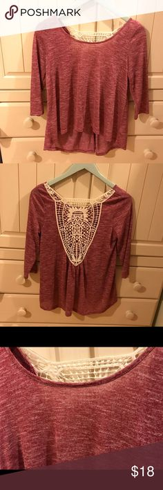 BRAND NEW Aeropostale Boho Quarter-Sleeve Blouse BRAND NEW (ripped off tags awhile back): AVAILABLE TO NEGOTIATE PRICE AND BUNDLE  - super soft and comfortable  - pretty Doily Lace-like embroidery on back - Light cranberry color  - Loose and breathable shirt   - good quality Aeropostale Tops Blouses