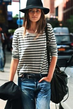 street-style-denim-striped-long-sleeved-ps1-by-proenza-schouler-and-rag-bone-hat1.jpg (389×583)