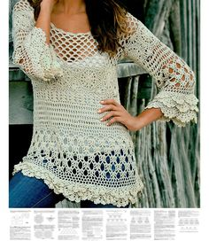 * This listing is for crochet pattern sent as a PDF file - not for an actual item. Materials for achieving best result: acrylic yarn; the tunic