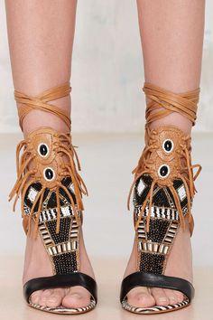 funky fringe heels sandals