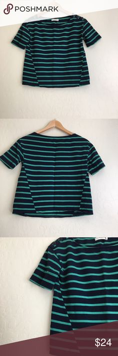 Anthropologie Striped Crop Top by Pilcro Pilcro & Letterpress striped crop top with button detail at the shoulders. Good preloved condition. Anthropologie Tops Crop Tops