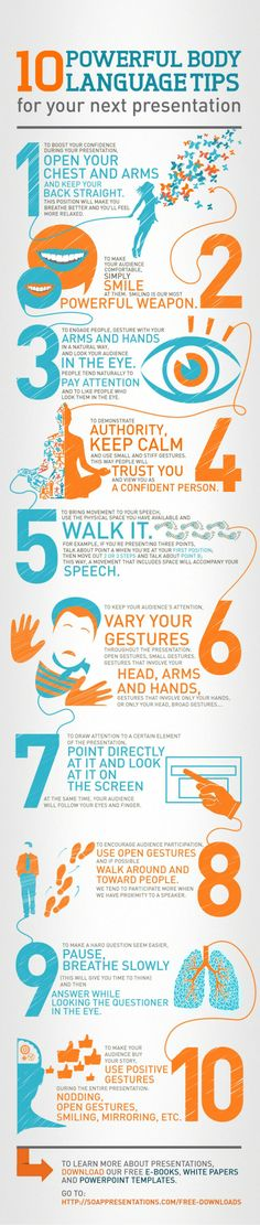 Body language tips for presentations | If you're not feeling overly confident, 'fake it til you make it'.