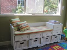 12 Cool Custom Made Bench Cushions Indoor Foto Idea Bench Cushions, Pillows, New Room, Kids Playing, Custom Made, Playroom, Thrifting, Room Decor, Indoor