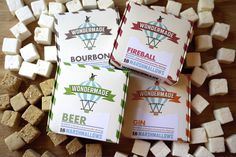 Boozy Set from Wondermade Marshmallows - Beer, Bourbon, Gin, and Fireball marshmallows they make for great s'mores or a great gift. (Note that the marshmallows are infused with alcohol that cooks out during production making the final products non-alcoholic.)