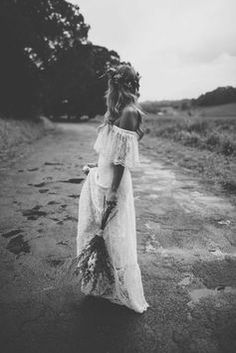 i'm loving the boho inspired off the shoulders lace gown more and more.