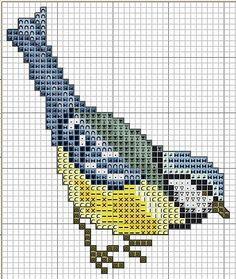 Este es un bonito patrón gratuito para hacer un pajarito de punto de cruz, los colores que predominan son verde mar, azul y amarillo. Este ...