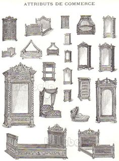 Vintage French Furniture Book Illustrations of by BellaMercato bed and wardrobe and dresser types