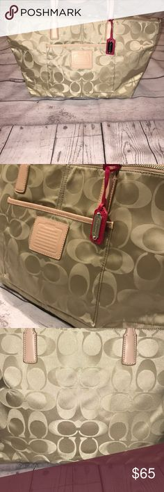 NWOT Coach Weekender tote! Product details  NEW Authentic COACH Legacy Weekend Tote Bag Signature Nylon NWOT, no spots, stains, tears, odors, etc. Signature nylon  fabric with tan leather trim and leather zipper pull. Pink leather Coach tag!! Coach Bags Totes