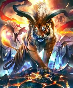Art Discover art Tigers al .art Tigers all around. Mystical Animals, Mythical Creatures Art, Mythological Creatures, Magical Creatures, Dark Fantasy Art, Fantasy Kunst, Fantasy Artwork, Creature Drawings, Animal Drawings